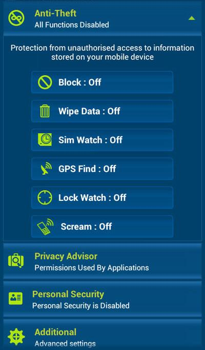 eScan Mobile Security- screenshot