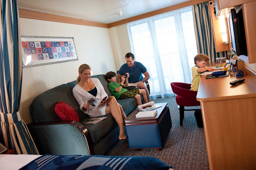 Disney-Dream-Stateroom-veranda - The stateroom with veranda on Disney Dream lets your family spread out and offers a private balcony for you to take in the passing views.