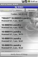 Screenshot of MyDryCleaner Mobile