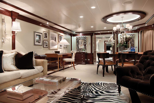 Enjoy the wide open spaces of the classy Owners Suite aboard Oceania Marina.