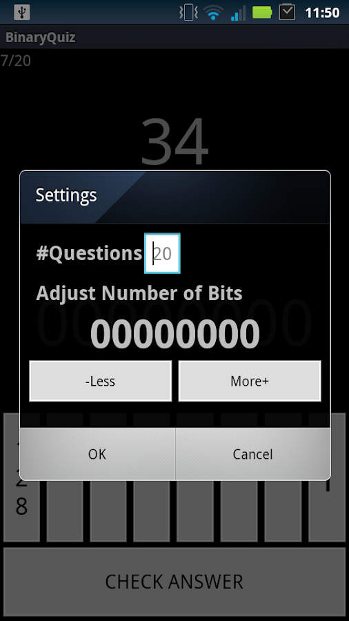 Binary Conversion Quiz - screenshot