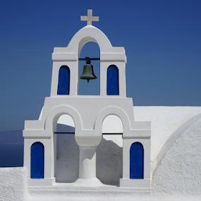 Blue and White by Marsilio Casale - City,  Street & Park  Vistas ( blue, greece, white, oia, santorini )