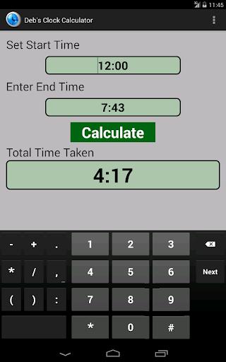 Deb's Clock Calculator