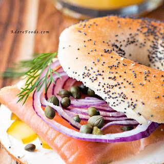 Healthy Smoked Salmon Bagel Breakfast.
