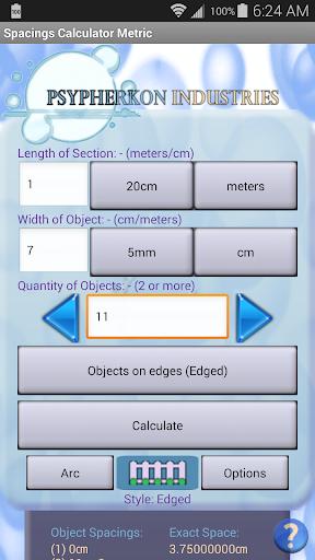 Spacings Calculator Metric