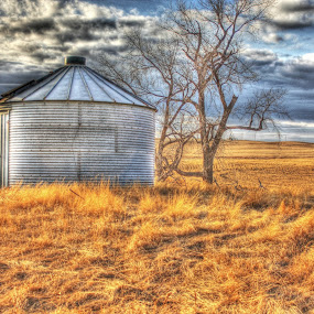 Lonely Silo by Debbie Sodeman-Roelle - Buildings & Architecture Other Exteriors ( grassland, clouds, north dakota, hdr, abandon, silo )