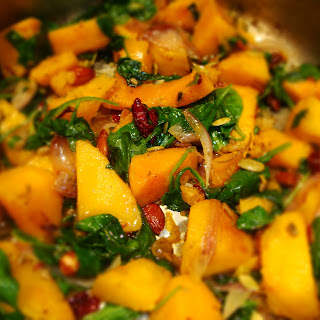 Curried Butternut and Spinach Saute.
