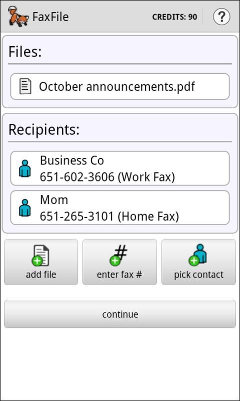 FaxFile - Send Fax from phone - screenshot