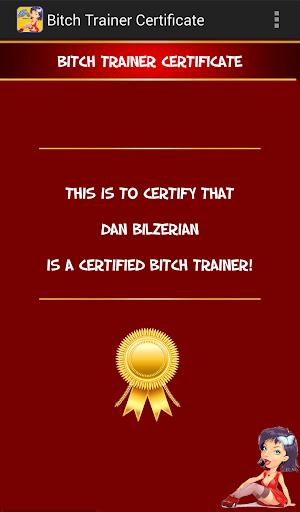 Bitch Detector Certificate