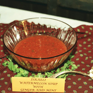 Israeli Watermelon Soup with Ginger and Mint.