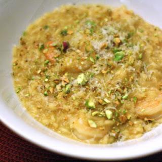 Saffron Risotto with Shrimp and Pistachios
