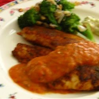 Pan-Fried Tilapia with Tomatillo Red Pepper Sauce.