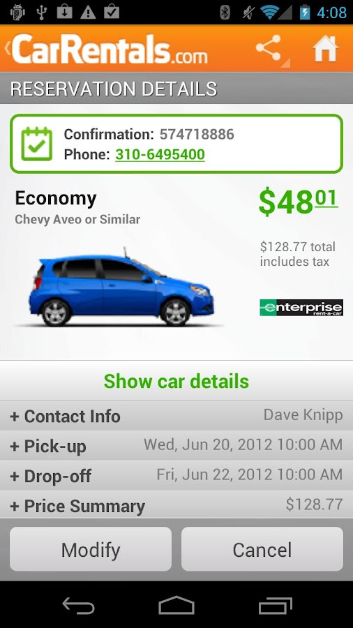 CarRentals - screenshot
