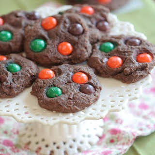 Chocolate Pumpkin Spice M and M Cookies.