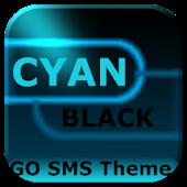 GO SMS Cyan Black Neon