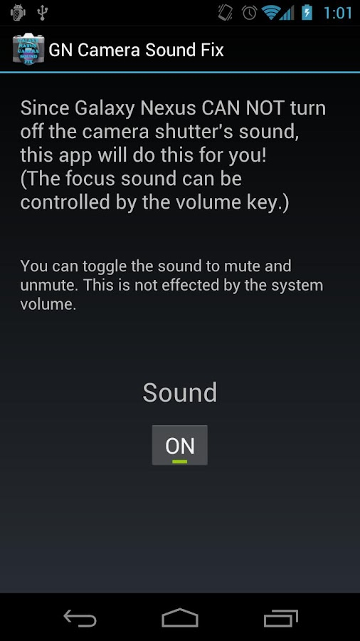 Galaxy Nexus Camera Sound Fix- screenshot
