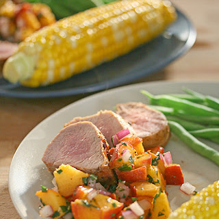 Grilled Pork Tenderloin with Fresh Peach Salsa.