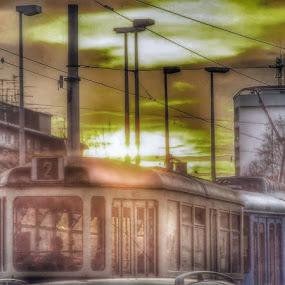 Train in City by Nat Bolfan-Stosic - Uncategorized All Uncategorized ( sunset, working day, train, crowd, city )
