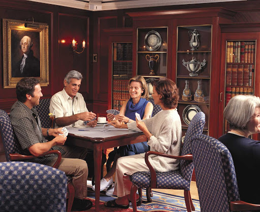 Oceania-Game-room-2 - Challenge your fellow passengers to a friendly round of cards in the Game Room during your cruise on Oceania Insignia.