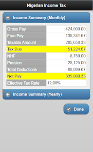 Nigeria Tax/Net Pay Calculator- screenshot thumbnail