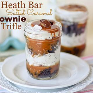 Heath Bar Salted Caramel Brownie Trifles.