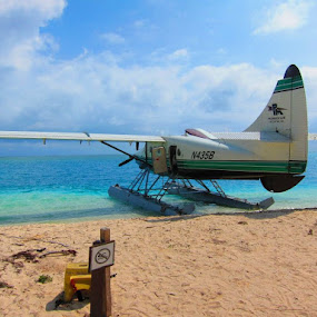 one way to get there by Jay Anderson - Transportation Airplanes ( water, sand, vacation, plane, swim, wave, sea, beach, boat, sea plane, island, , landscape, device, transportation, relax, tranquil, relaxing, tranquility )