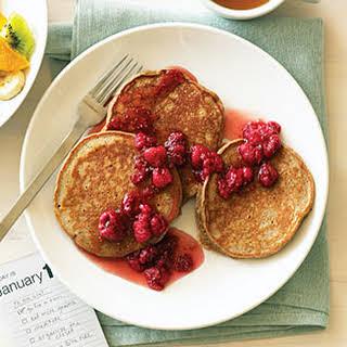 Five-Grain Buttermilk Pancakes with Raspberry Honey.