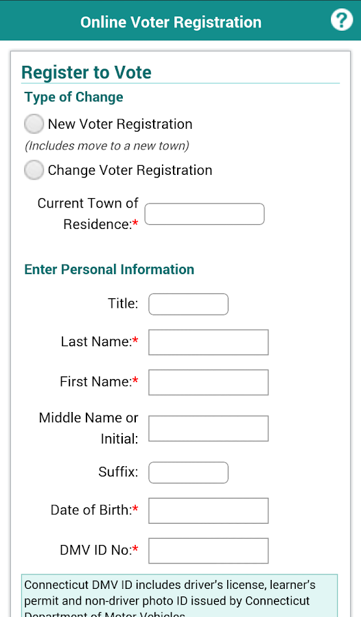 CT Voter Registration- screenshot