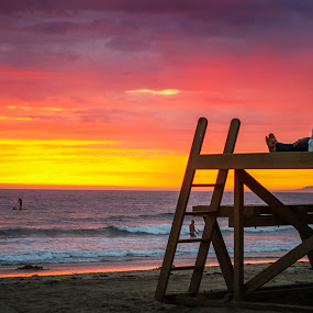 Tower 24 by Edwin Montgomery - Landscapes Sunsets & Sunrises ( tower, newport beach, ocean, life guard, ocean view )