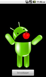 Android Eating Apple Wallpaper - screenshot thumbnail