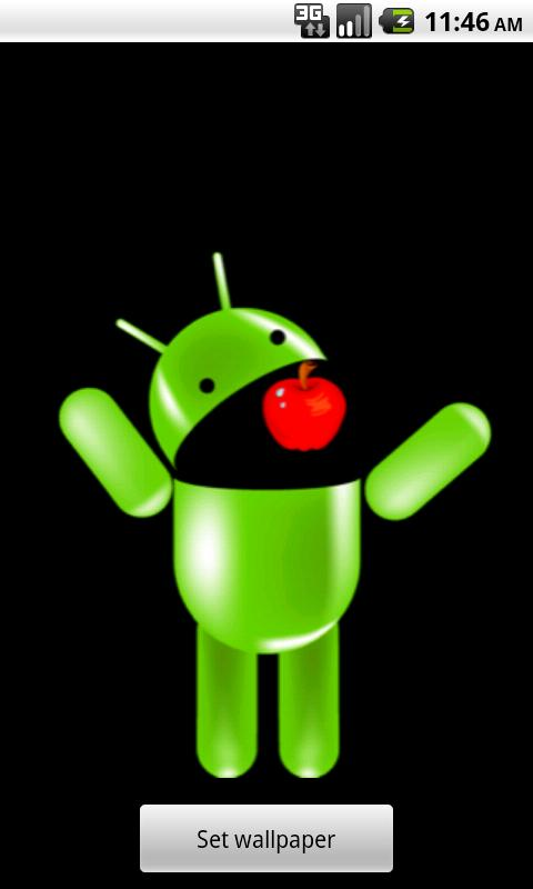 Android Eating Apple Wallpaper - screenshot