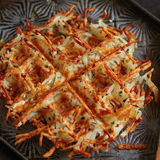 Waffled Hash Browns With Rosemary.