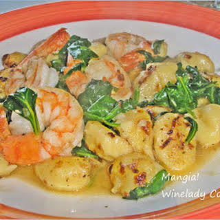 Gnocchi With Shrimp and Spinach.