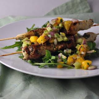 Cilantro Chicken Skewers with Mango Salsa.