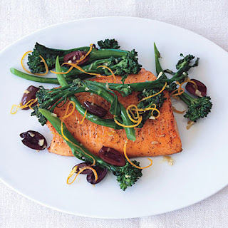 Seared Arctic Char with Broccolini, Olives, and Garlic.