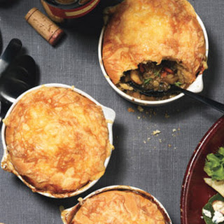 Mushroom and Lentil Pot Pies with Gouda Biscuit Topping.