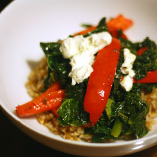 Farro with Sweet Red Bell Peppers, Kale, and Goat Cheese Recipe