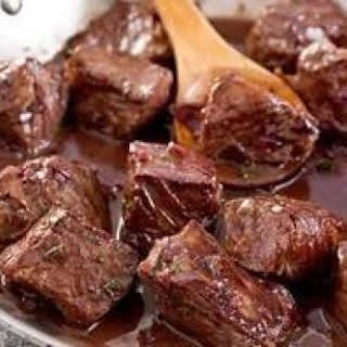 Beef Tips In Red Wine Sauce.