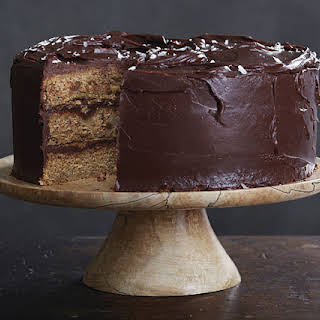 Browned-Butter Banana Cake with Salted Dark Chocolate Ganache.