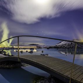 Bridge over Blue lagoon by Kristvin Guðmundsson - Landscapes Travel ( canon, lagoon, lake, frozen, rokinon, iceland, blue, ice, stars, blue lagoon, 14mm, factory, bridge )