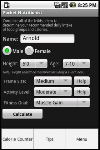 Pocket Nutritionist- screenshot
