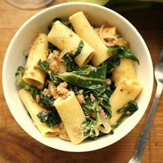 Creamy Collard and Sausage Rigatoni.