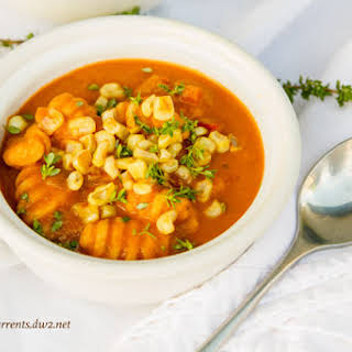 Red Pepper Corn Soup with Gnocchi.