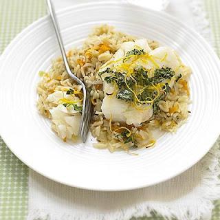 Coriander Cod with Carrot Pilaf Recipe