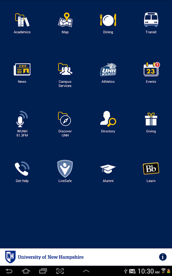 UNH Mobile - screenshot