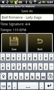 Metronome Saver for Android - screenshot thumbnail