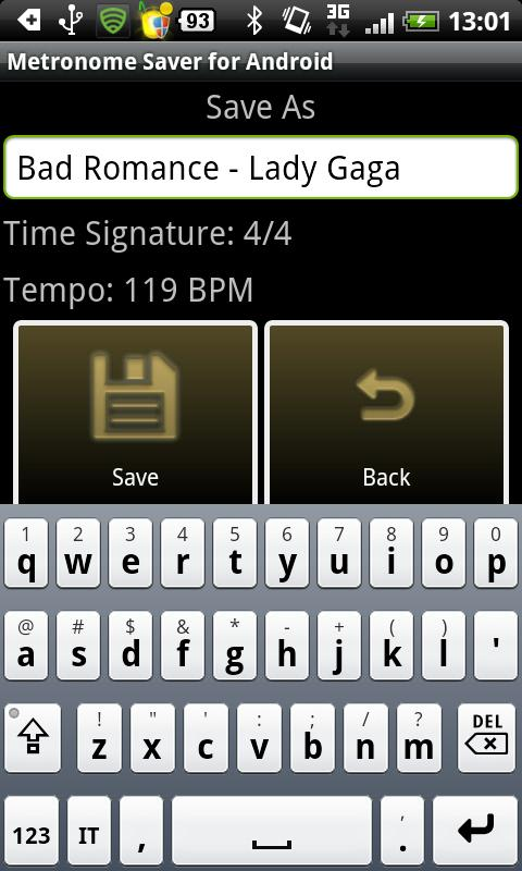 Metronome Saver for Android - screenshot