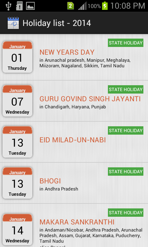 HOLIDAYS LIST, INDIA - 2014 - screenshot