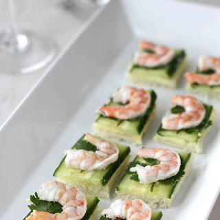 Shrimp, Cucumber & Curry Cream Cheese Canapes.