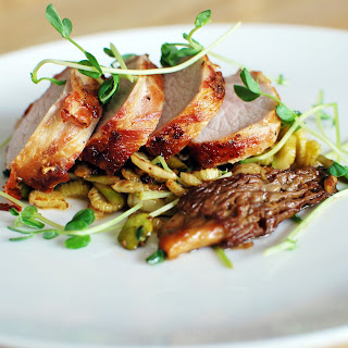 Pancetta Wrapped Pork Tenderloin with Spring Vegetables